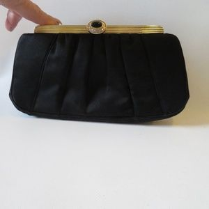 JUDITH LEIBER SATIN CLUTCH SHOULDER HANDBAG *